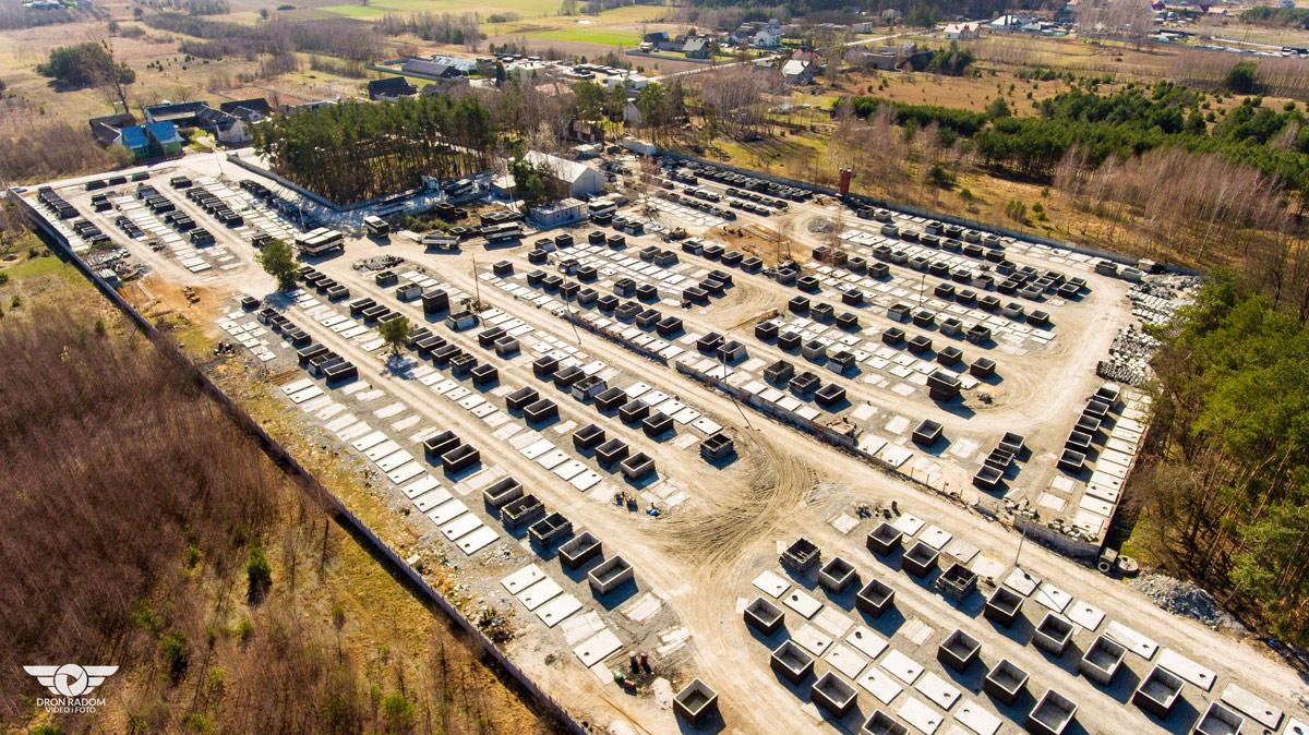 Areál na výrobu a skladování betonových jímek
