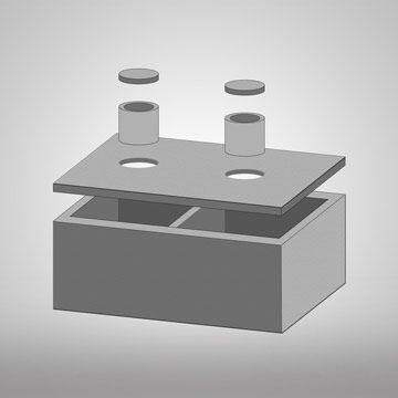 3D dvoukomorová betonová jímka
