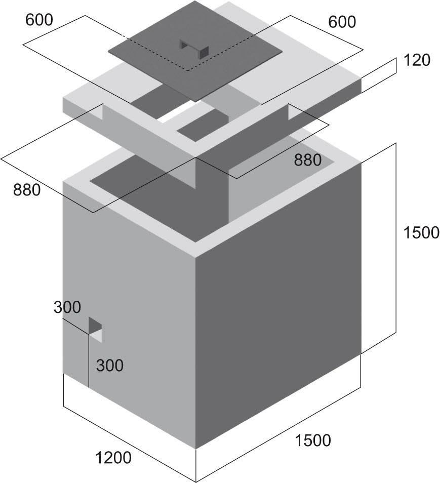 Vodoměrná šachta - nákres rozměrů